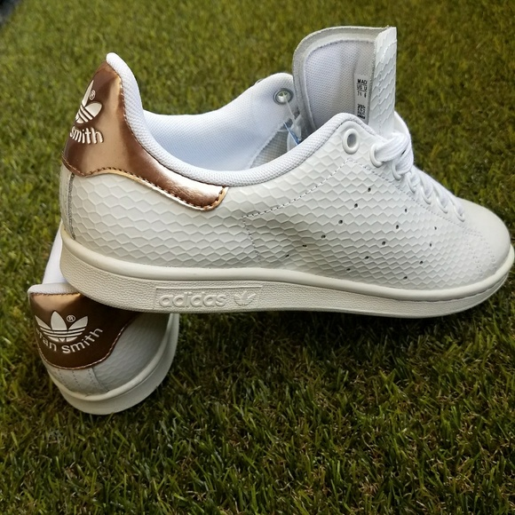 684aa95c56d Adidas Stan Smith White Snakeskin Copper Rose gold